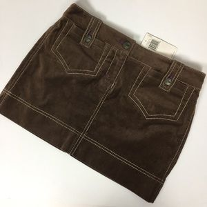 NWT BCBG Brown Suede Mini Skirt With Pockets Small